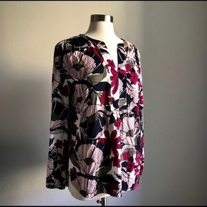 LOFT Pink Floral Popover Tunic Blouse Large *F16